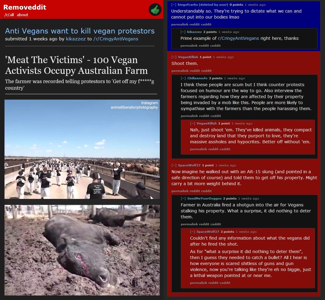 Anti Vegans want to kill vegan protesters 2